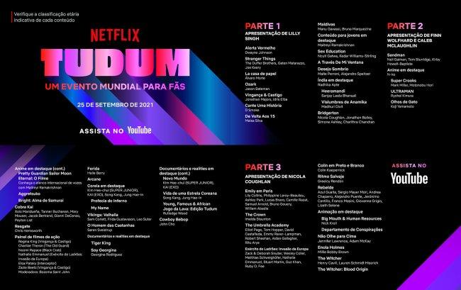 Imagem da programação do TUDUM Netflix com as informações de horário do festival divididas por cada hora sendo três no total; no topo esquerdo o logo do evento se destaca com fundo preto com cores como azul, rosa, roxo e vermelho nas palavras