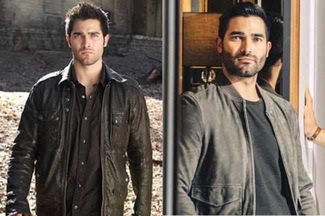 Duas fotos do ator Tyler Hoedchlin. Uma, ele está atuando em Teen Wolf, com uma jaqueta de couro preta. Na outra, ele está posando para uma foto, com roupa preta.