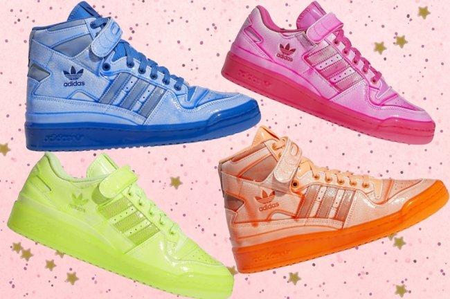 Fundo rosa com bolinhas e os tênis coloridos da Adidas.