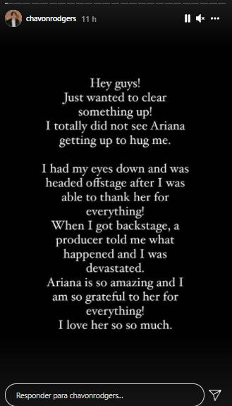 print do post de Stories em que Chavon Rodgers afirma que não viu Ariana Grande se levantar para abraçá-lo