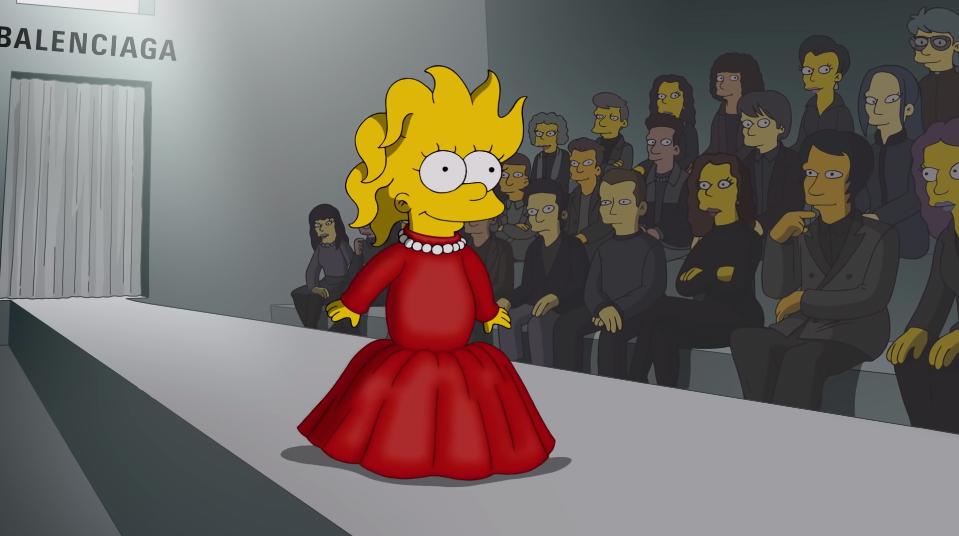 Lisa, de Os Simpsons, desfilando em passarela da Balenciaga na semana de moda de Paris