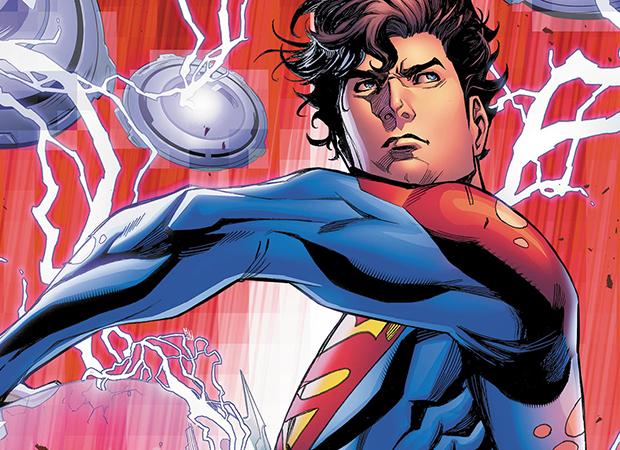 quadrinhos de Superman. Jon Kent com olhar sério, usando o uniforme azul com capa vermelha do super-herói