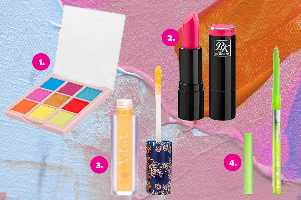 Montagem com quatro produtos de maquiagem em fundo colorido azul, rosa e laranja. Há uma paleta de sombras, um batom rosa, uma sombra líquida amarela e um lápis verde neon